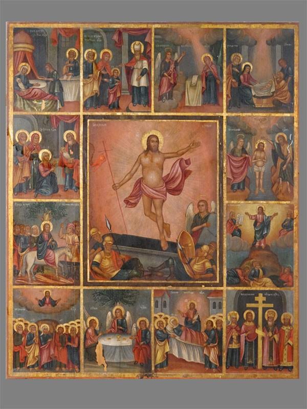 Икона «Воскресение Христово с 12 праздниками», дерево, левкас, темпера, золочение, XVIII век, 54 × 44см