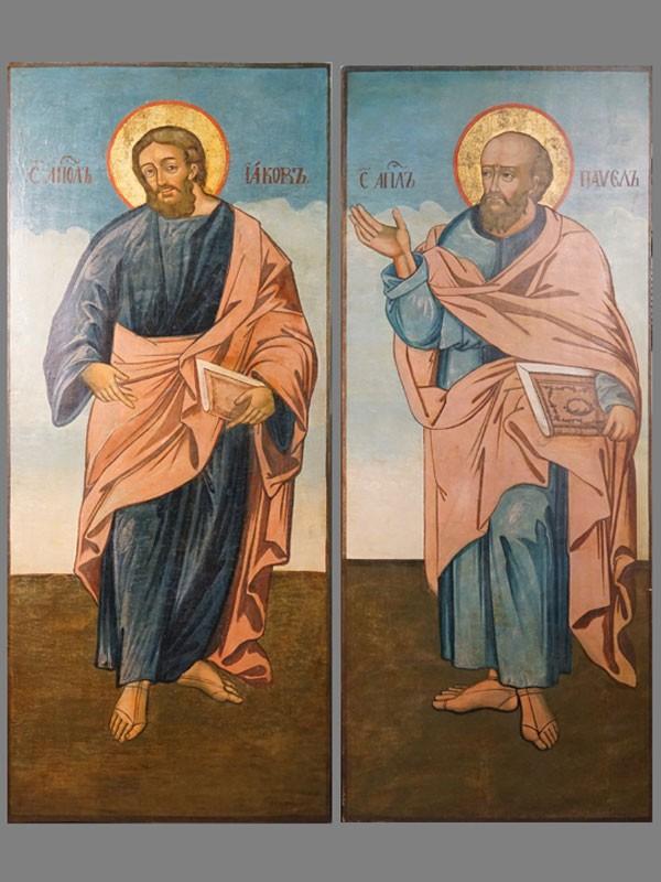 Две парные иконы «Святой Апостол Павел» и «Святой Апостол Иаков», дерево, масло, золочение, последняя четверть XVIII века, 139,5 × 58см и 139 × 57,7см. Атрибуция.
