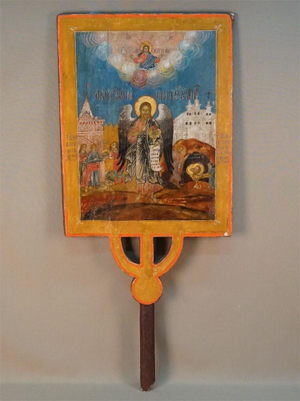 Икона выносная «Пресвятая Богородица Смоленская» и «Святой Иоанн Предтеча», дерево, левкас, темпера, золочение, XVIII век, 72 × 42см (без древка).