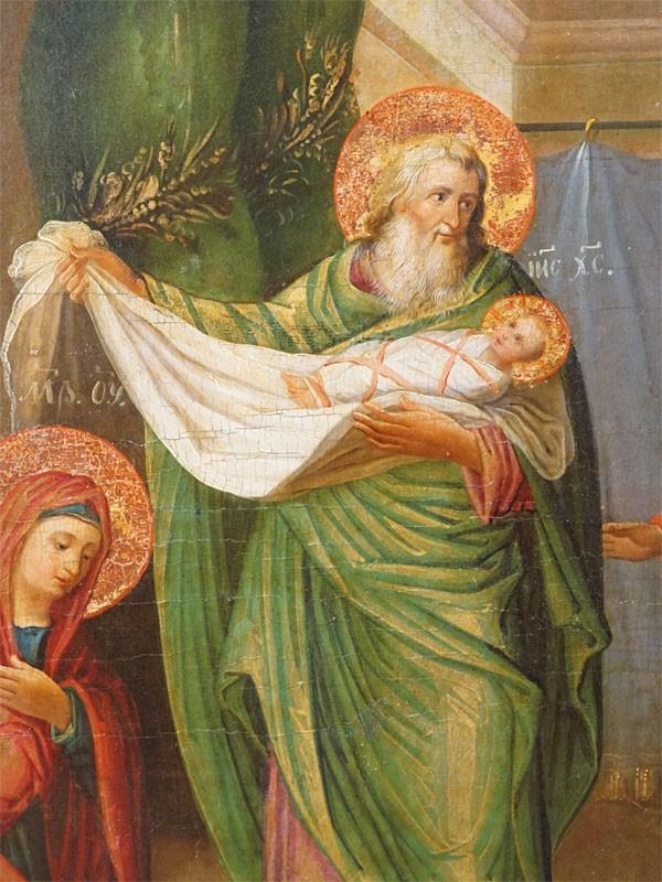 Икона «Сретение Господне», дерево, левкас, темпера, золочение, XIX век, 49 × 54,5см