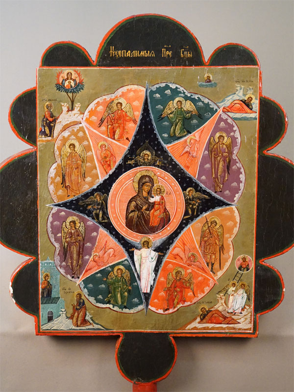 Икона выносная «Пресвятая Богородица Неопалимая Купина» и «Огненное восхождение Святого Пророка Илии», дерево, левкас, темпера, золочение, XIX век, 61,4 × 55см (без древка).