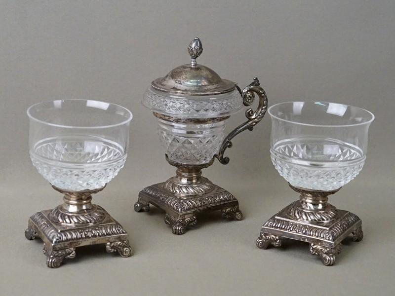 Набор для мороженого (три предмета), серебро по реактиву, стекло, конец XIX века, максимальная высота 17см