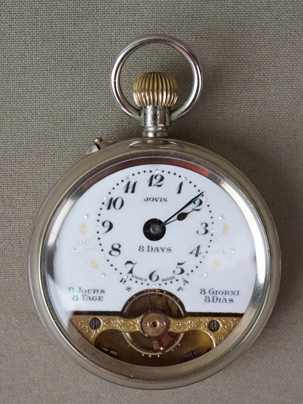 Часы карманные двухкрышечные Jovis, с восьмидневным заводом. Швейцария, конец XIX века, металл, диаметр 5см