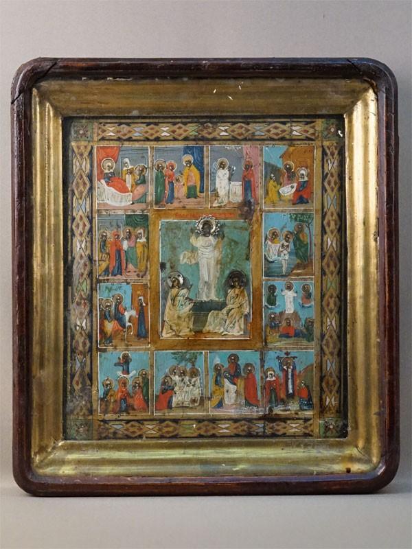 Икона в киоте «Праздники», дерево, левкас, темпера, венцы серебро по реактиву, XIX век, 29,5 × 25,5см