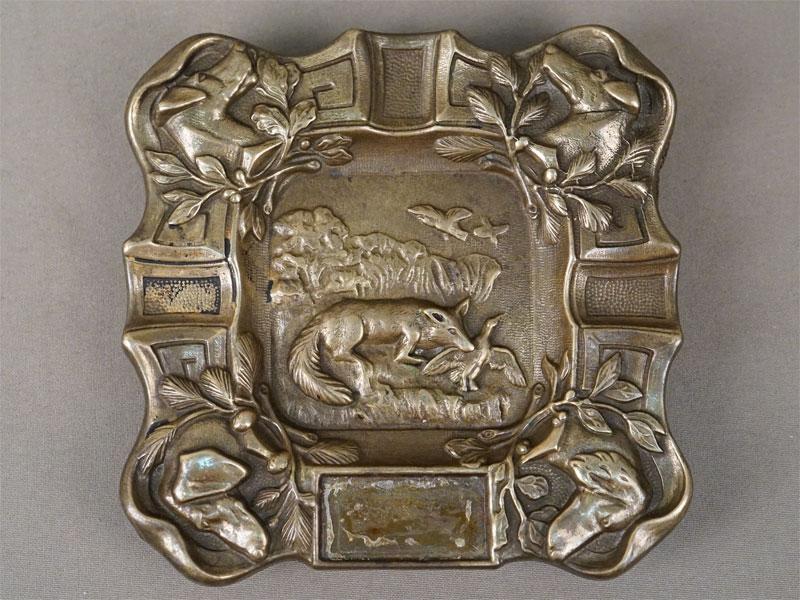 Пепельница «Охота», бронза, XX век, 13 × 13см