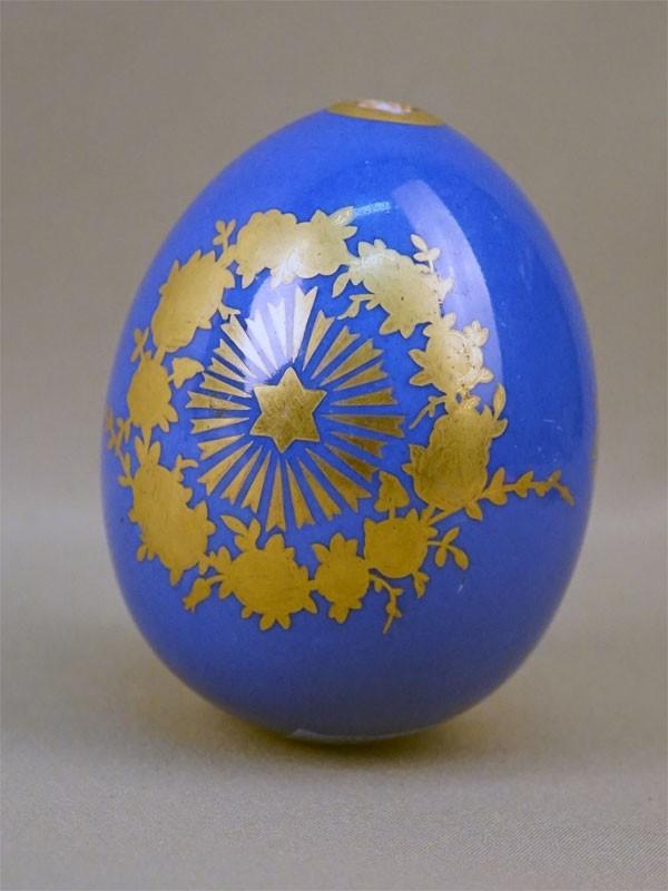 Яйцо пасхальное «Цветы», фарфор, роспись, золочение, цировка, высота 10,5см