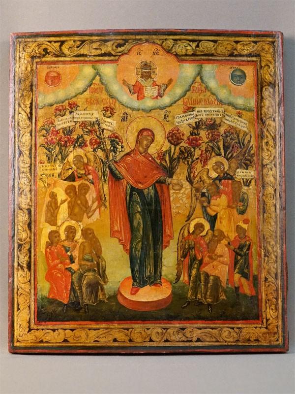 Икона «Пресвятая Богородица Всех скорбящих Радость», дерево, левкас, темпера, золочение, XIX век, 35 × 30см