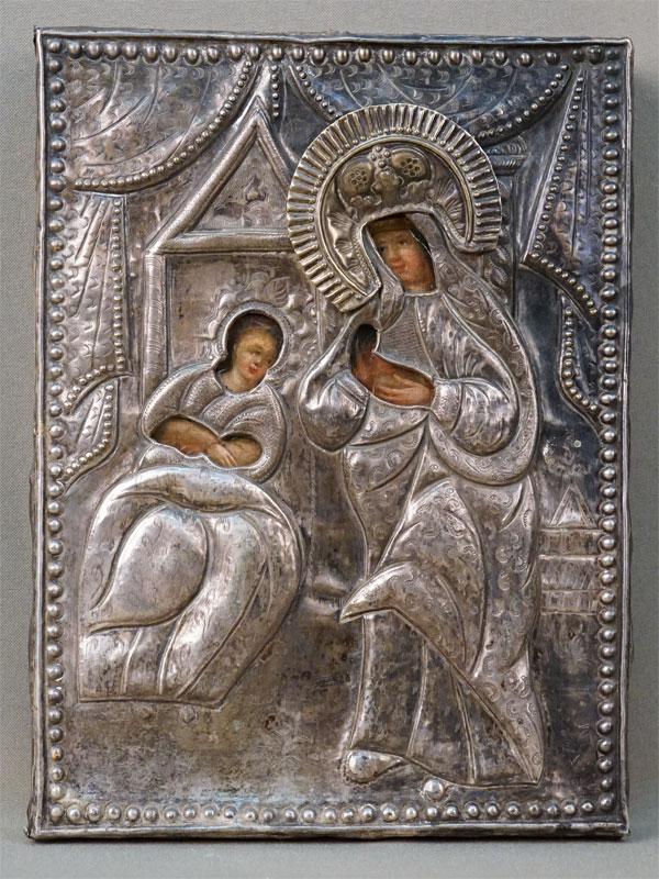 Икона «Пресвятая Богородица Целительница», дерево, масло; оклад латунь, XIX век, 23 × 17см
