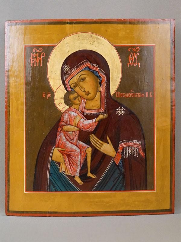 Икона «Пресвятая Богородица Федоровская», дерево, левкас, темпера, золочение, серебрение, XIX век, 35 × 31см