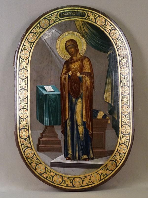 Икона «Благовещение Пресвятой Богородицы», дерево, левкас, темпера, сусальное и твореное золото. Москва, первая половина XIX  века, 48 × 31см