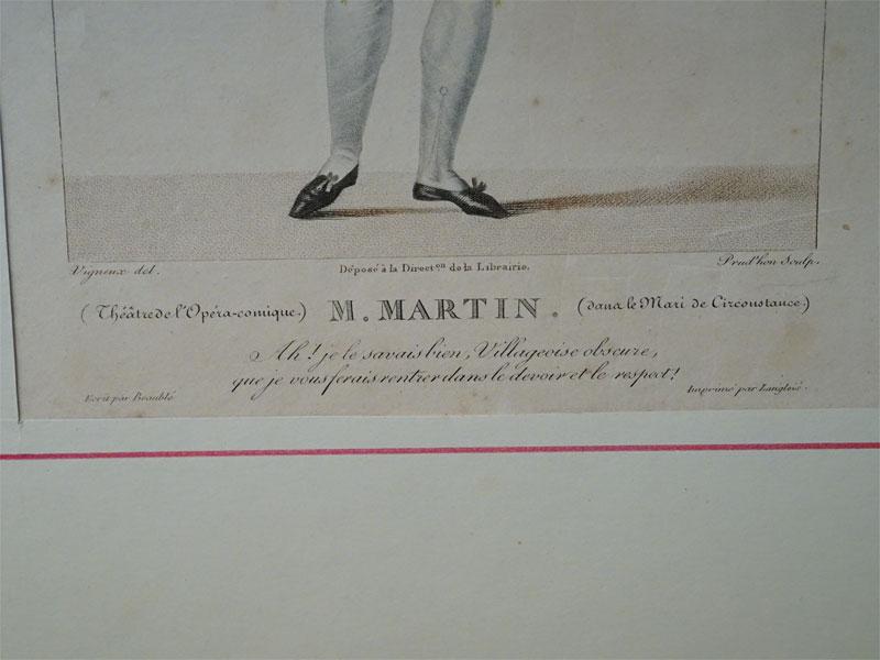 M.Martin. Из пьесы «Вынужденная женитьба».Theatrel'Opera-comique.GalerieTheatrale. 9liv.№35. Рисовал:Vigneuxdel. , гравировал: P.Prud'honsculpt. Ок. 1800.  33 × 23,5 см. Редкость.