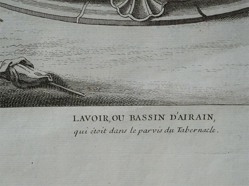Лавуар, или Медный бассейн, который находился во дворе Скинии (Lavoir, ou Bassin d'airain qui etait dans le parvis du Tabernacle).Библия.Гравюра на меди, 38 x 24 см, около 1750 г.