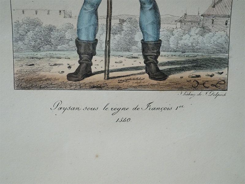 Простолюдин времен ФранцискаI. 1540.Impr.Lith.DeF.Delpech, цветная литография, 1834. Лист: 33 × 24 см.