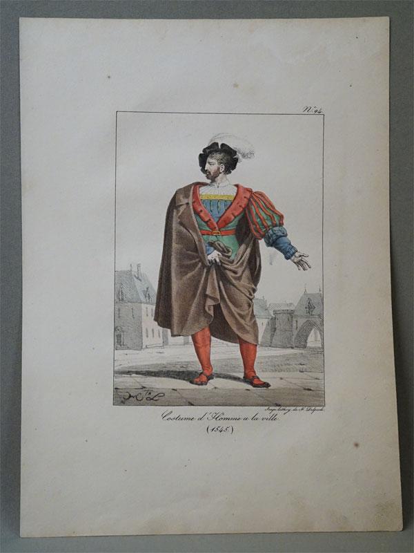 Городской житель времен ФранцискаI. 1545. Impr. Lith. De F. Delpech,цветнаялитография,1834. Лист: 33 × 24 см.