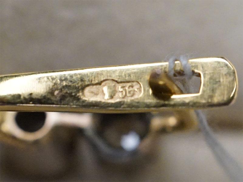 Серьги, золото, общий вес 8,86г., длина 4см. Вставки: бриллианты (12бр «Старой» огр. — 1,46ct 4/4-6)