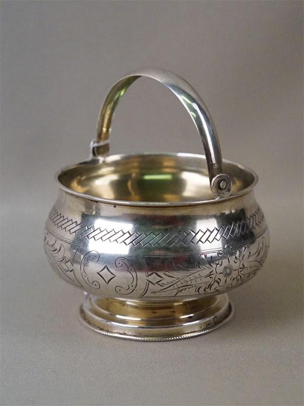 Сахарница в русском стиле, серебро 84 пробы, золочение, гравировка, общий вес 145,4г. Москва, 1888 год