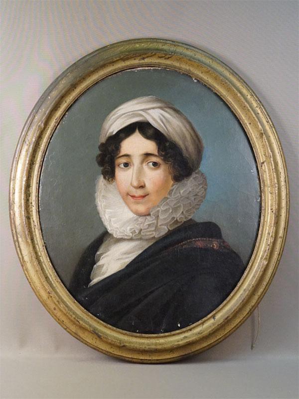 Картина в раме. «Портрет дамы в чепце», неизвестный художник, холст, масло, 60 × 50см. Западная Европа, XIX век