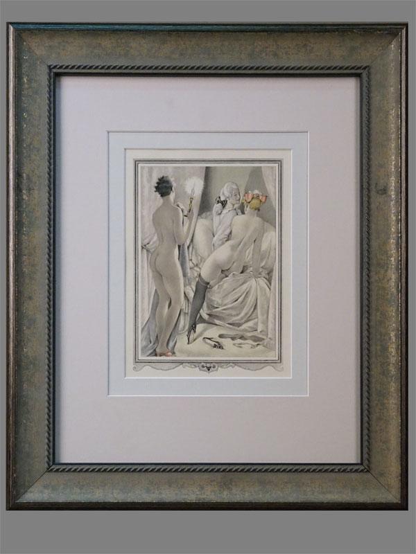Литография в раме. «В спальне» (из серии «Казанова»), 20 × 15см (в окне). Италия, Умберето Брунеллески, 1950 г.