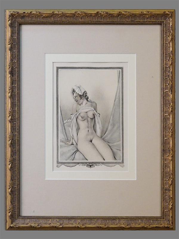 Литография в раме. «Обнаженная» (из серии «Казанова»), 20 × 15см (в окне). Италия, Умберето Брунеллески, 1950 г.