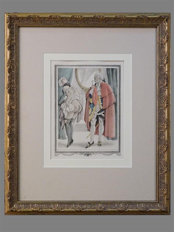 Литография в раме. «Знакомство» (из серии «Казанова»), 20 × 15см (в окне). Италия, Умберето Брунеллески, 1950 г.