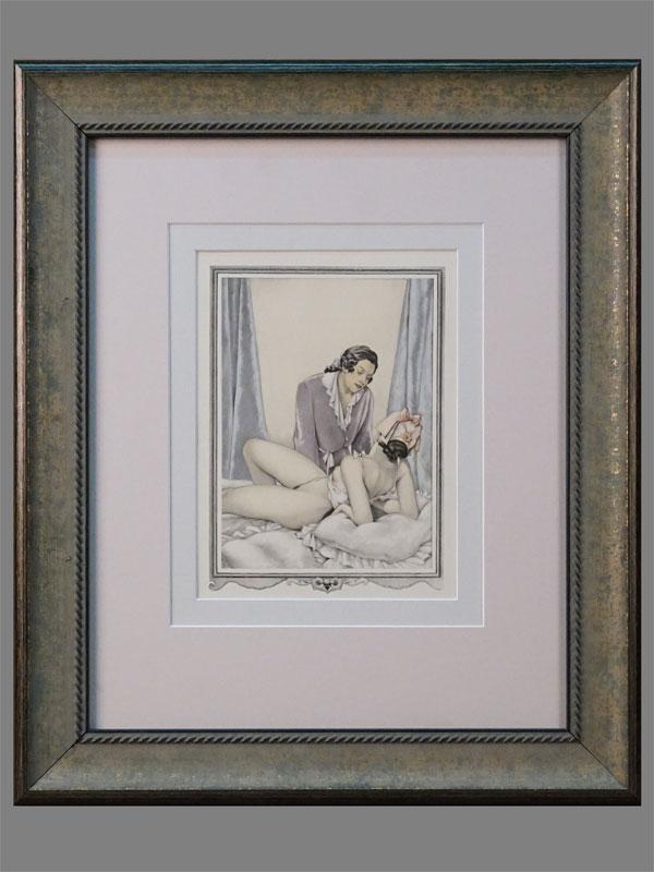 Литография в раме. «Свидание» (из серии «Казанова»), 20 × 15см (в окне). Италия, Умберето Брунеллески, 1950 г.