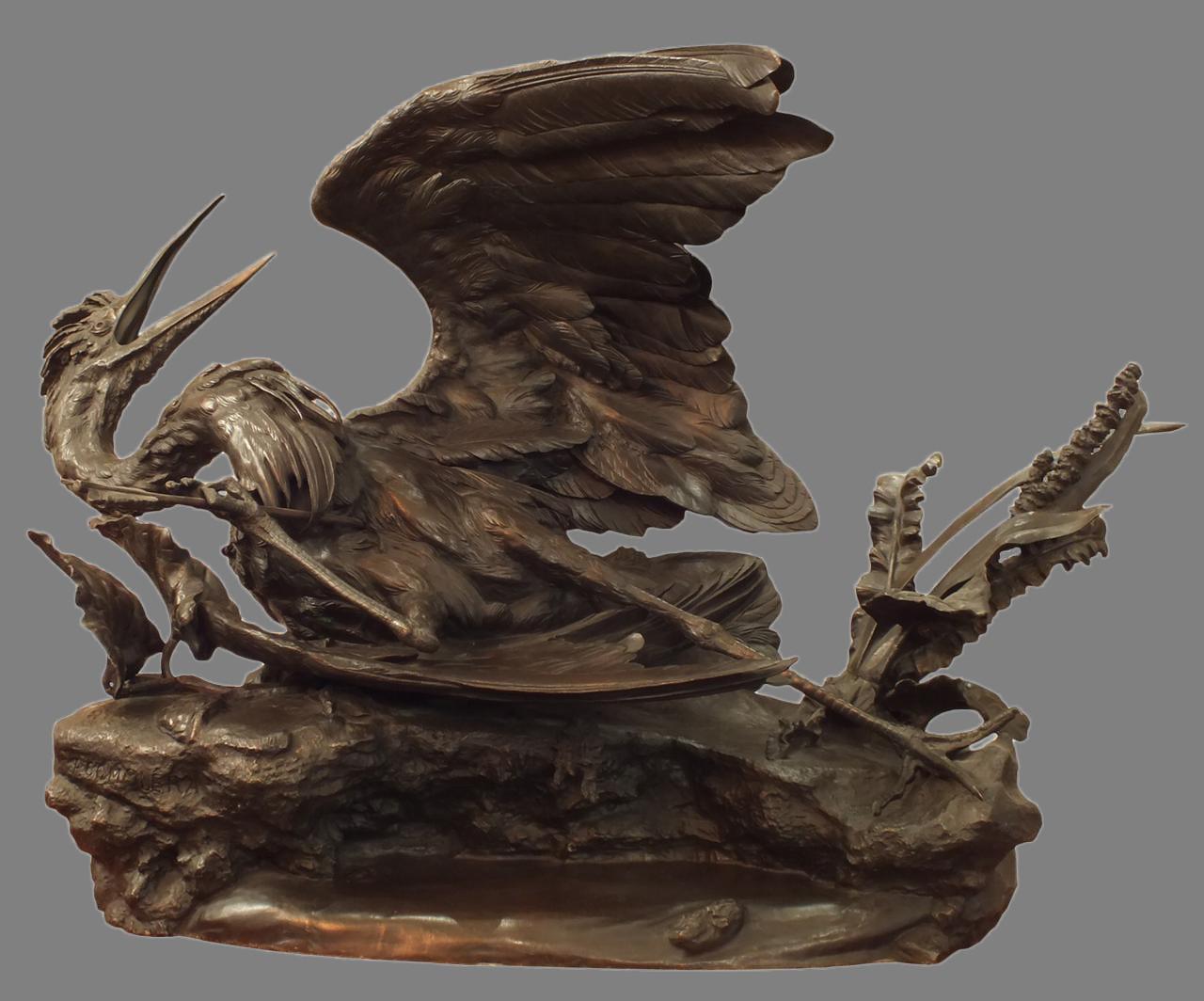 Скульптура «Раненая цапля», бронза, литье, чеканка, патинирование. Франция, Париж, скульптор Поль Комолер (1818-1897), 1860-70-е годы. 58 × 90 × 40см. Атрибуция.