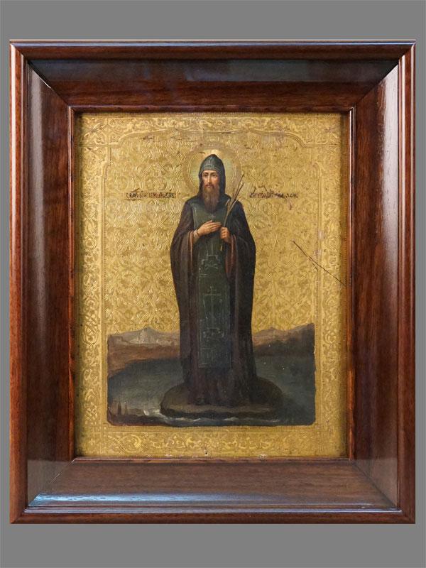 Икона в киоте «Святой Преподобный Антоний», дерево, левкас, темпера, золочение, конец XIX века, 31 × 24см
