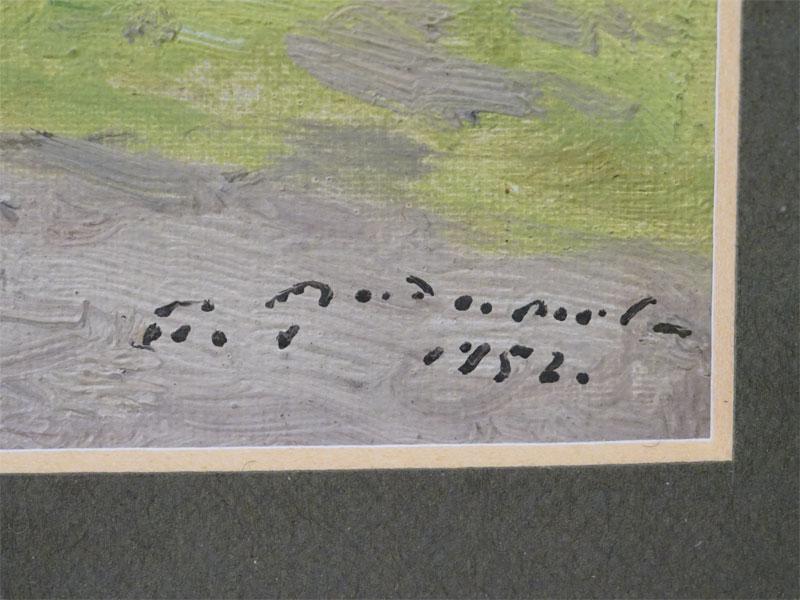Картина в раме. П.Радимов, «Летний день на берегу озера», картон, масло, 1952 год, 11,5 × 17,5см