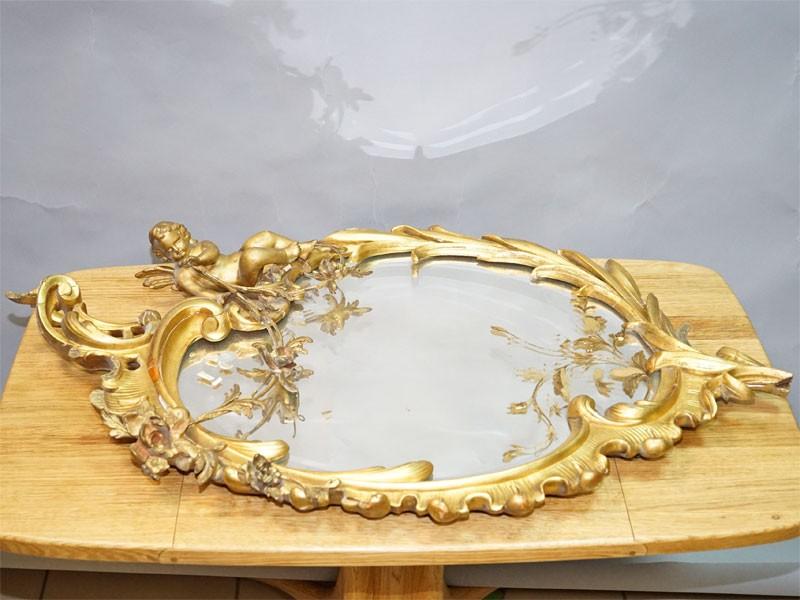 Зеркало настенное в стиле рококо, дерево, резьба, левкас, золочение, XIX век, размер —92× 55см