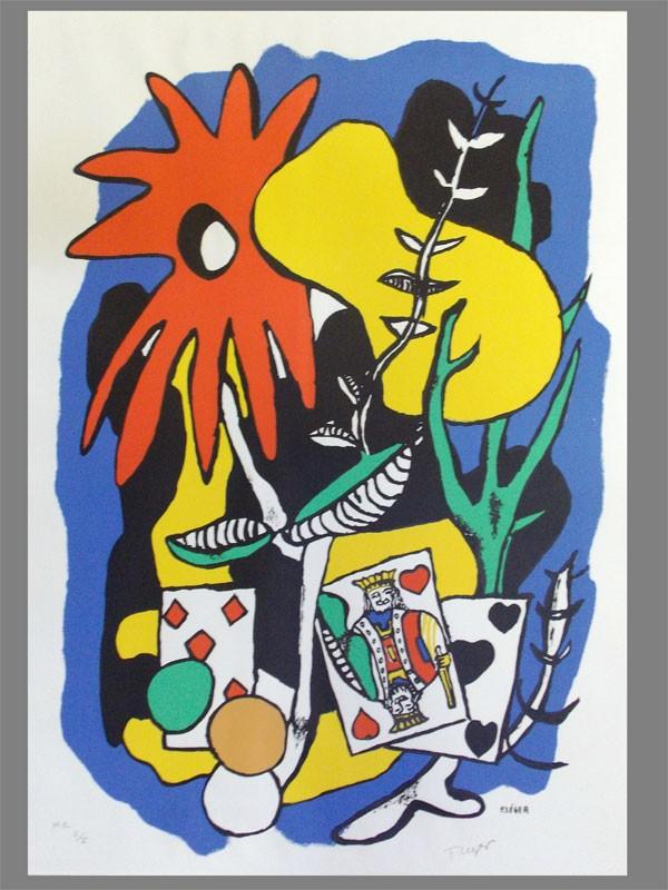 Леже, Фернан. «Король червей», бумага,  цветная литография, 70 x 47 см, 1949год. Штампсухойпечатью«Musee Fernand Leger. B.107» .В левом нижнем углукарандашом:Н.С. № 5 /Х