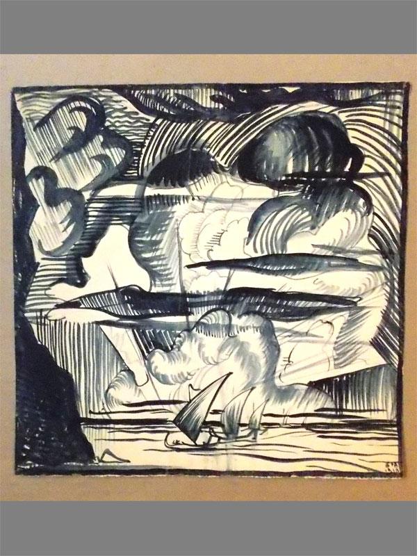 Юткевич, Сергей, «Крым. Коктебельский мотив», бумага, тушь, перо, кисть, 1920 год,  32 × 32см. В правом нижнем углу подпись: «С.Ю. 1920».
