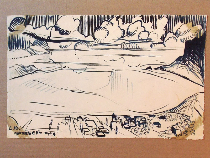 Юткевич, Сергей, «Крым. Коктебельский мотив», бумага, тушь, перо, кисть, 1920 год,  21 × 34 см. В левом нижнем углу подпись: «С. Ю. Коктебель. 1920».