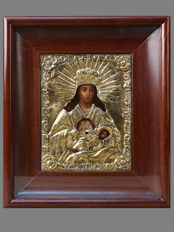 Икона в киоте «Пресвятая Богородица Утешение», дерево, масло, оклад серебро 84 пробы, золочение, 20 × 15,5см