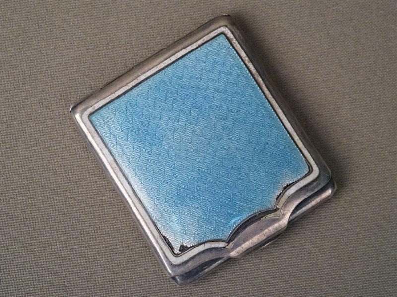 Спичечница, серебро 935, 925 пробы, эмаль (сколы), 6 × 5,5см. Западная Европа, начало XX века