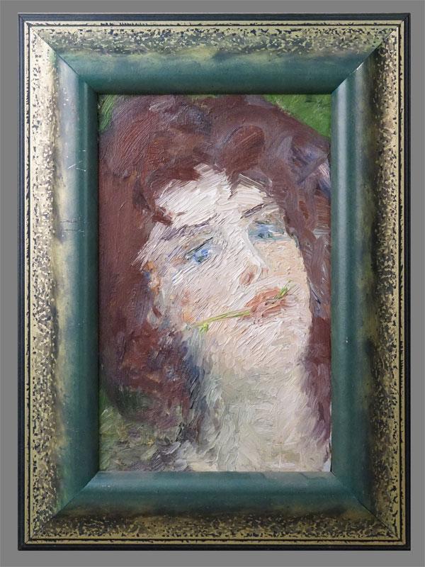 Картина в раме. Вершигоров П.С. (1925-1998), «Портрет девушки с голубыми глазами», картон, масло, 34,5 × 22см, 1959 год