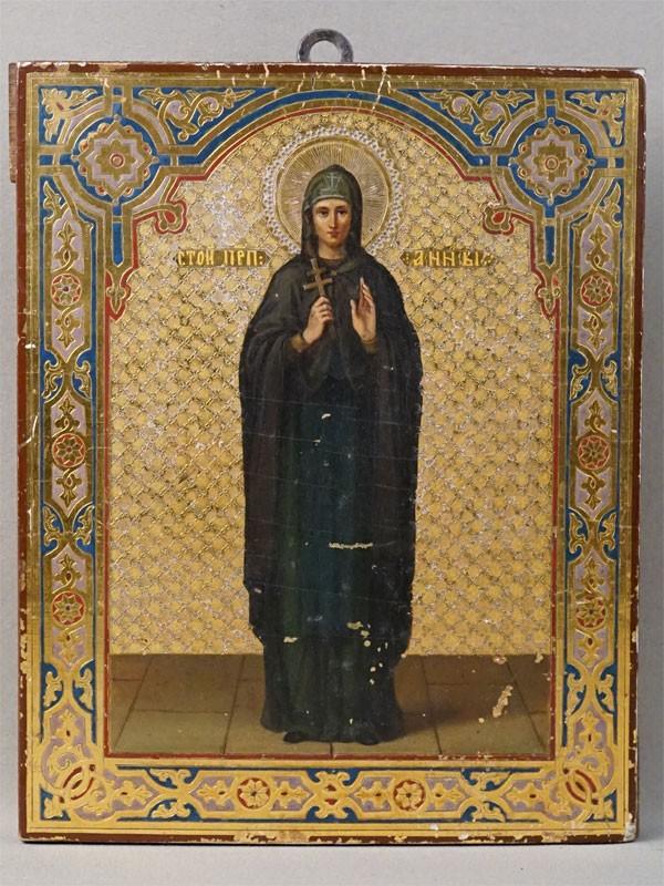 Икона «Святая Преподобная Анна», дерево, масло, золочение, холодные эмали, конец XIX века, 22,2 × 18см