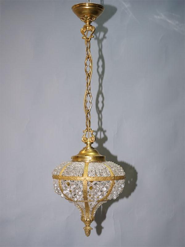Люстра-фонарь в стиле неоклассицизм, бронза, хрусталь, середина ХХ века, 1 световая точка (стандартный патрон Е-27), размер — 84 × 25см