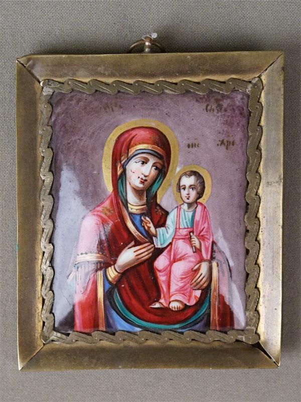 Икона «Пресвятая Богородица Иверская», финифть, латунь, 9,5 × 8см