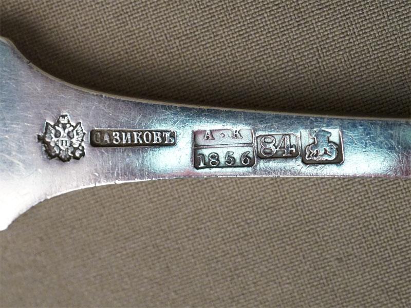 Ложка для салата, серебро 84 пробы, общий вес 143,6г., клеймо «Сазиков»