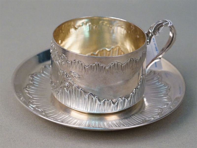 Чайная пара, серебро по реактиву, золочение, общий вес 255,21г.