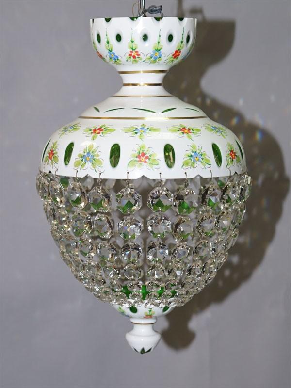 Люстра, двухслойное стекло, хрусталь, роспись эмалевыми красками, Чехия, середина ХХ века, 1 световая точка (стандартный патрон Е-27), размер  —  43 × 24см