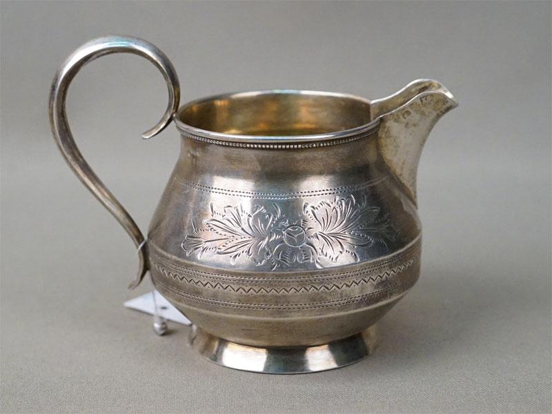 Сливочник, серебро 84 пробы, гравировка, позолота, общий вес 96г.
