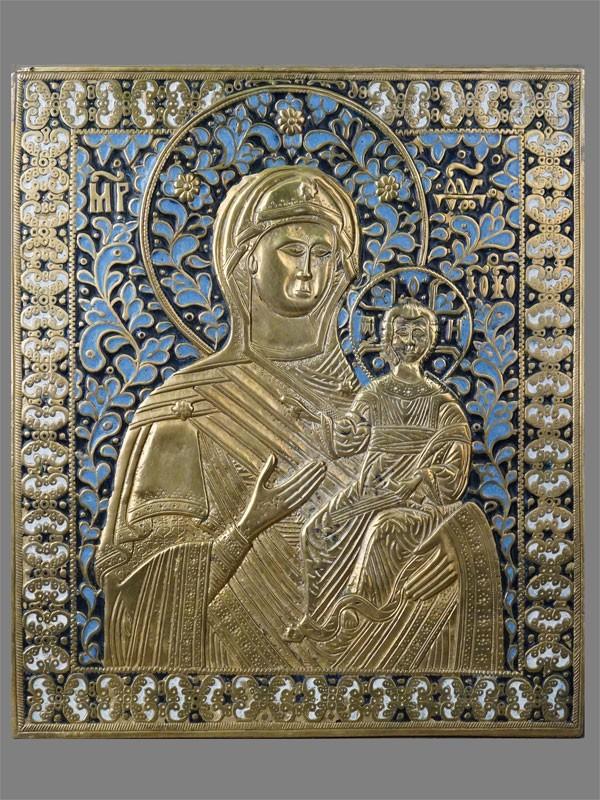 Икона «Пресвятая Богородица Иверская», медное литье, 3-х цветная эмаль, конец XIX века, 27 × 24см