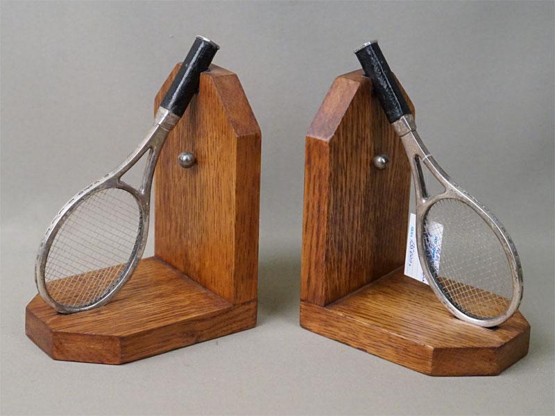 Держатели для книг «Теннисные ракетки в подставках», серебро по реактиву, дерево, начало 20 века, Англия,высота 17см
