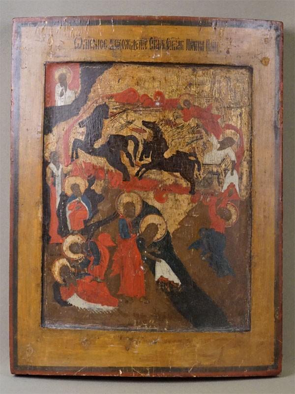 Икона «Огненное восхождение Илии Пророка», дерево, левкас, темпера, 38 × 30см, XIX век
