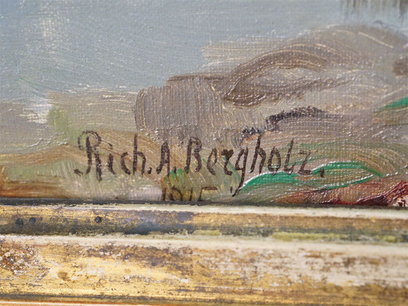 Картина в раме. Rich. A. Bergholz (Ричард Александрович Берггольц, 1865-1920) «Осенний пейзаж», дерево, масло, 38 × 49см, 1915 год