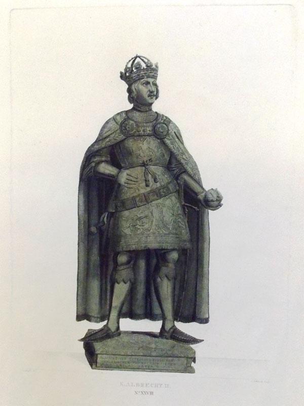 Король Альбрехт II. Король Германии (1438—1439) и герцог Австрии (c 1404). Гравюра на меди, акватинта. Размер: 29 × 15 cm, Лист: 41 × 29 cm. Гравюра J. Schleich, по рис. Johann Georg Schädler, 1823. Церковь Хофкирхе в Инсбруке, где находится мраморный саркофаг Максимилиана I, который охраняет знаменитая черная свита. 28 Черных рыцарей и дам в человеческий рост, начиная с короля Артура.