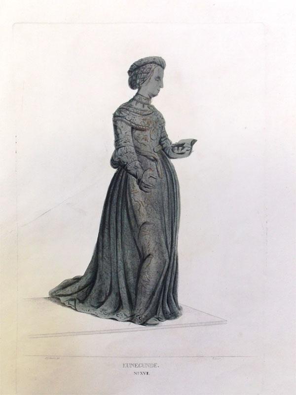 Кунигунда Австрийская (нем. Kunigunde von Österreich 1465-1520, Мюнхен), эрцгерцогиня Священной Римской империи из рода Габсбургов, в замужестве герцогиня Баварии. Гравюра на меди, акватинта. Размер: 29 x 15 cm, Лист: 41 x 29 cm. Гравюра J. Schleich, по рис. Johann Georg Schädler,1823.