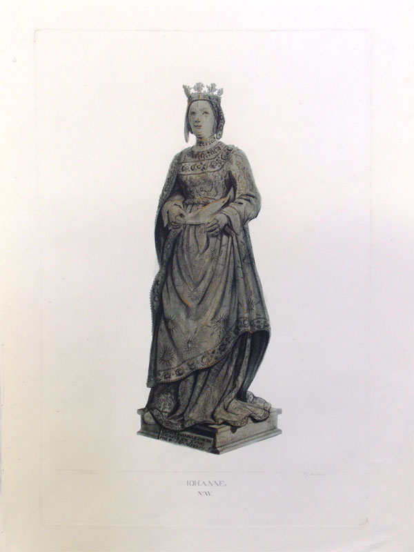 Иоанна Австрийская (1547 — 1578, Флоренция), младшая дочь императора Фердинанда I и Анны Ягеллонки, великая герцогиня Тосканская, мать королевы Франции Марии Медичи. Гравюра на меди, акватинта. Размер: 29 x 15 cm, Лист: 41 x 29 cm. Грав. J. Schleich, по рис. Johann Georg Schädler, 1823.
