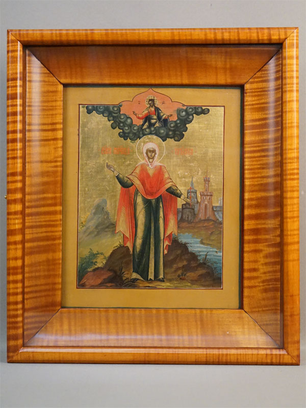 Икона в киоте «Святая Мученица Татиана», дерево, левкас, темпера, золочение, XIX век, 27 × 22см